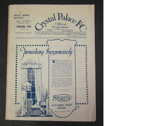 1922 Crystal Palace v Barnsley programme