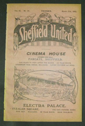 1922 Sheffield United v Barnsley football programme