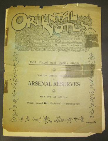 1922 Orient v Barnsley programme