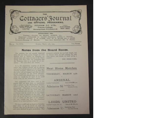 1924 Fulham v Barnsley programme
