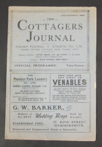1925 Fulham v Barnsley programme