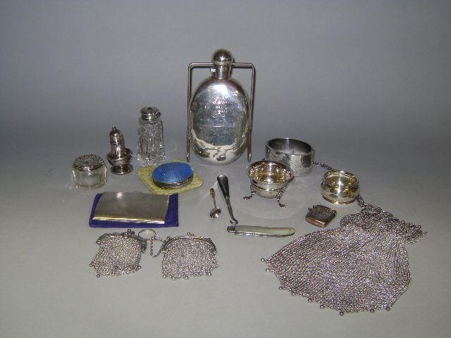 Assorted silver includinga hip flask