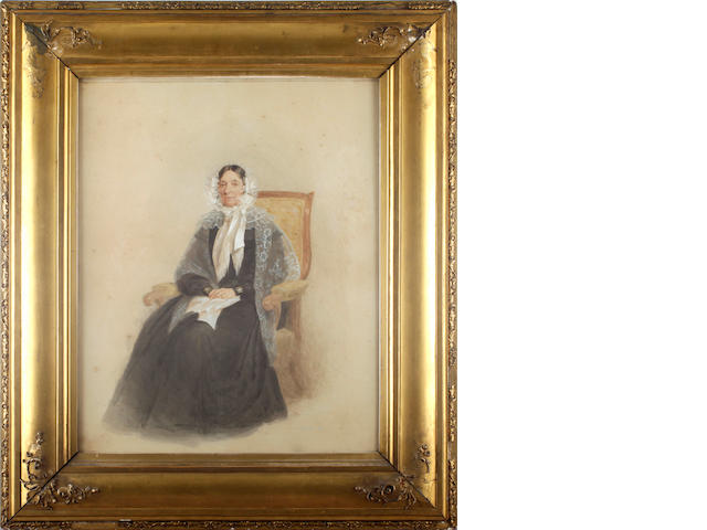 J. Carpenter (19th Century) Portrait of Elizabeth Little (d.1845), grandmother of the artist Walter Little, seated in an armchair