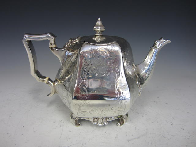 A Victorian silver teapot by John Eley,  London 1846