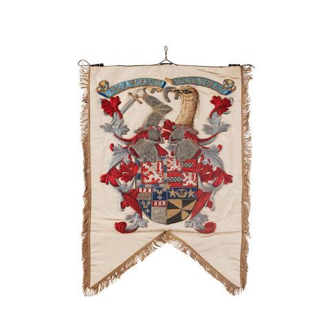 An Impressive Edwardian Highland Light Infantry pipe banner