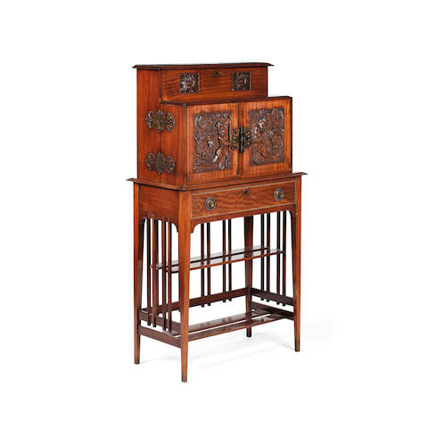 An Edwardian mahogany ladies writing desk,made by Claude Neil, Glasgow, (1871-1956)