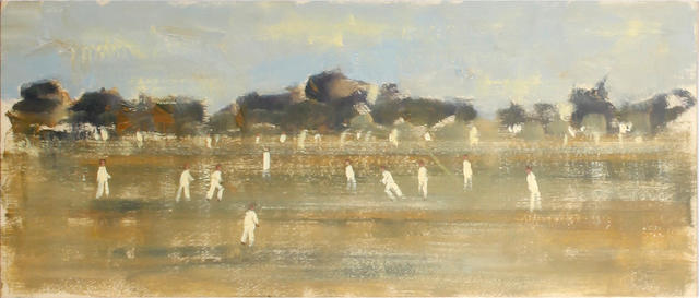Walter John Beauvais (British, 1942-1998) Cricket Match (a pair) and an unframed oil on canvasboard 'The Wicket Keeper', 'The Palm Tree' (sigend lower left), oil on board (unframed), 'Two Ladies' (oil on canvas, unframed), and an abstract study in watercolour, signed lower right and framed (6)