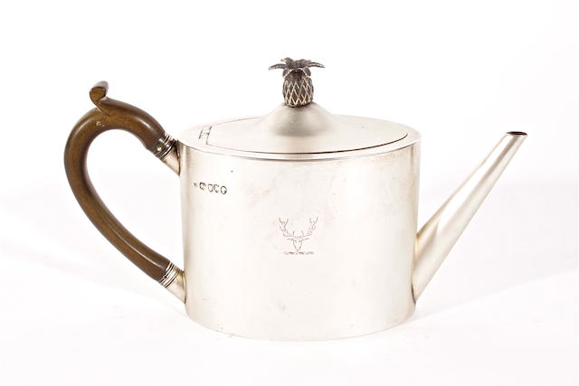 A late Victorian silver teapot by Robert Harper, London, 1892,