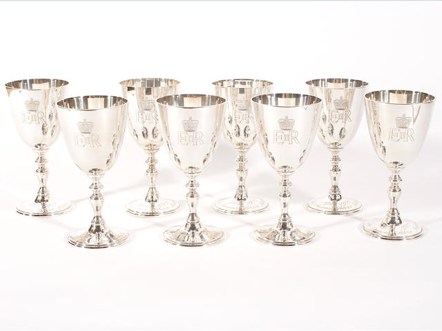 A set of eight silver goblets commemorating the Queens Silver Jubilee  maker's mark 'C S Ld', London 1977,