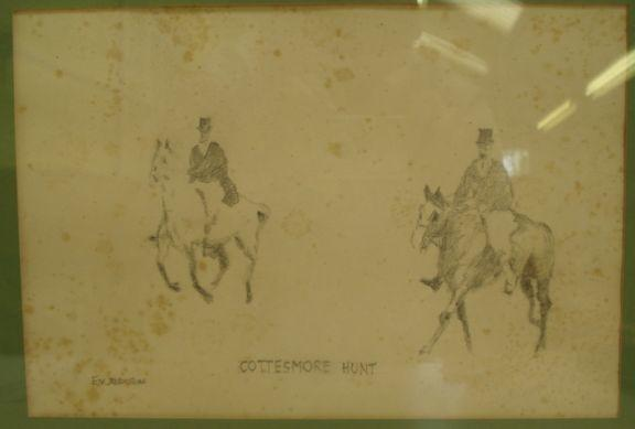 E V Addison - Cottesmore Hunt,  pencil drawing, 19 x 27.5cm,also three companions on tinted paper, a set of four.