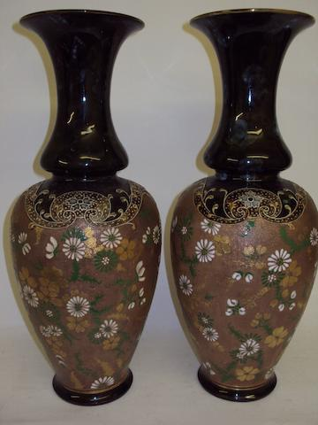 A pair of Doulton Lambeth Slaters Patent vases