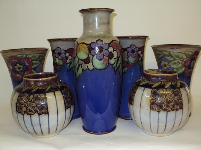 A Royal Doulton vase garniture