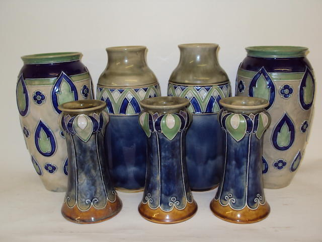 A collection of Royal Doulton vases