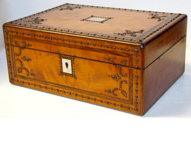 An 19th Century French walnut needlework box,