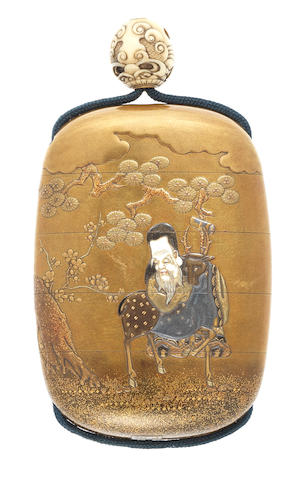 An inlaid gold lacquer four-case inro By Shokasai and Shibayama, late 19th century