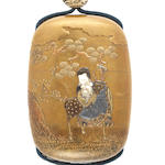 A gold lacquer four-case inro depicting Fukurokuju and karako with crane