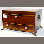 A George III mahogany and burr wood banded bow front box