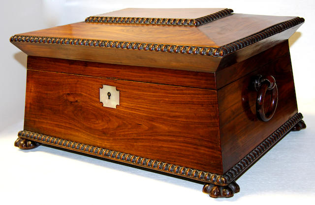 A George III mahogany and ebonised line inlaid work box