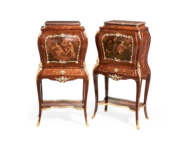 A pair of French early 20th century gilt metal mounted kingwood and Vernis Martin bombé secretaires-on-stands in the Louis XV style