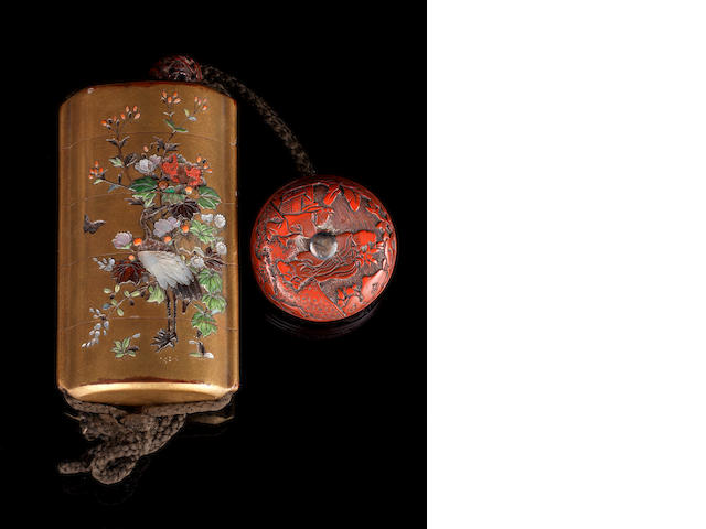 A four-case, gold-ground inro Unsigned, Meiji Period