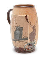Hannah and Florence Barlow for Doulton Lambeth a Jug with Owl, Deer and Elk, circa 1895
