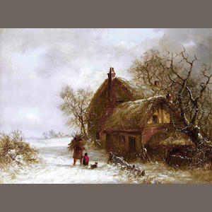 Thomas Smythe (British, 1825-1906) Winter landscape with figure; A pair
