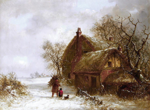 Thomas Smythe (British, 1825-1906) Winter landscape with figures; A pair