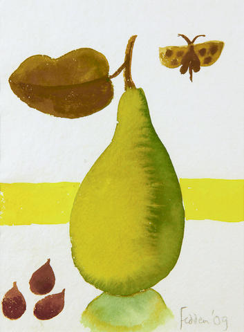 Mary Fedden R.A. (British, 1915-2012) Pear with butterfly and three figs