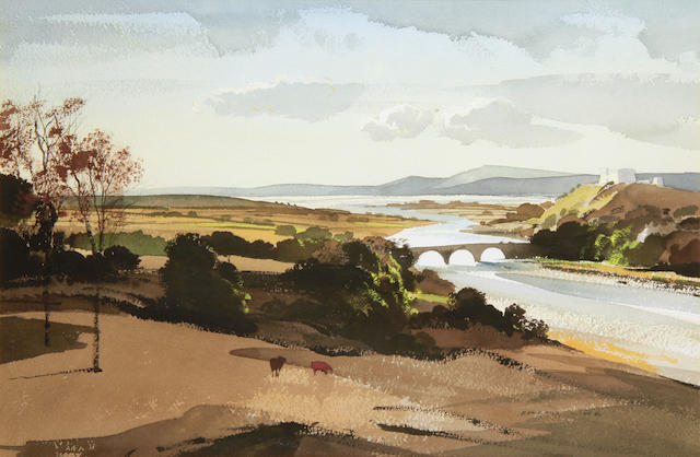 Rowland Hilder (British, 1905-1993) Landscape with river