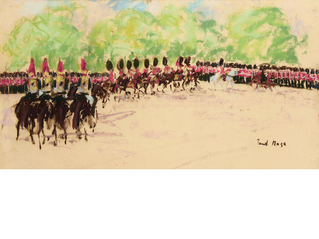 Paul Lucien Maze (French, 1887-1979) A horseguards parade