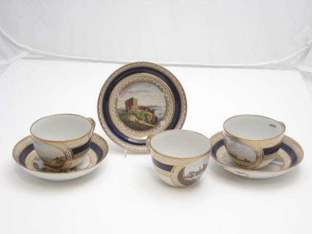 Three cups and saucers of Scottish interest Circa 1800