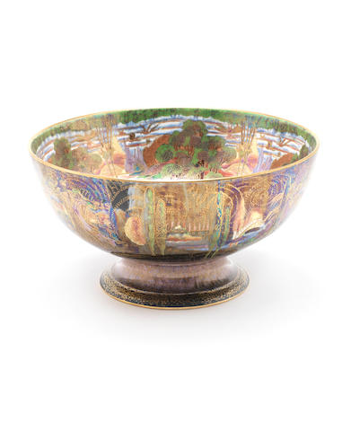 Daisy Makeig-Jones for Wedgwood 'Woodland Elves V - Woodland Bridge' a Fairyland Lustre Punch Bowl, circa 1920