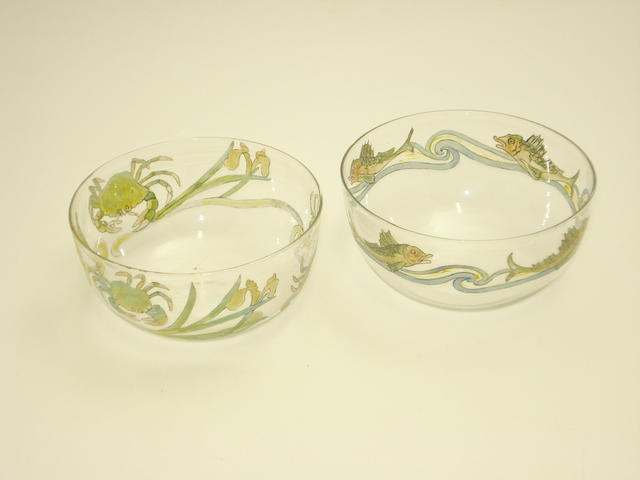 Two enamelled glass finger bowls attributed to Helen and Hannah Walton Circa 1890