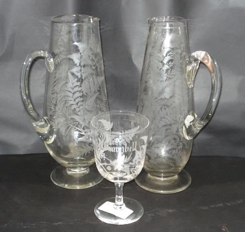 Two engraved marriage jugs
