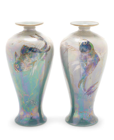 Walter Slater for Shelley a Pair of Lustre Vases with fish, circa 1920