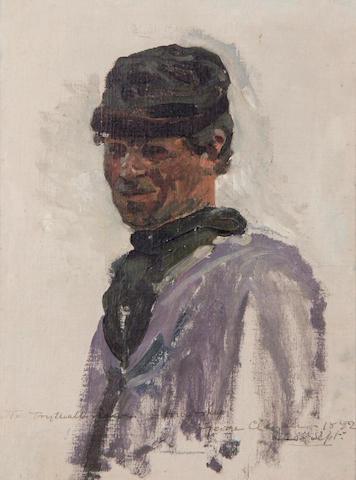 Sir George Clausen, RA, RWS (British, 1852-1944) Portrait of a Breton fisherman