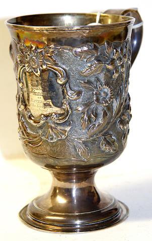 A George III presentation pedestal mug