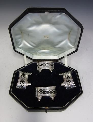 An Edwardian silver set of four open salts by Haseler Brothers, Chester 1902/3