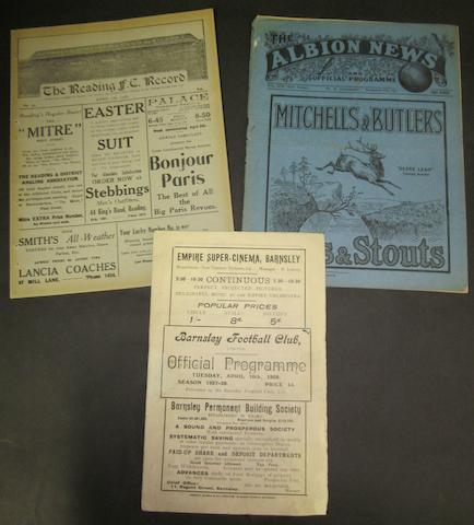 1927/28 Barnsley home and away programmes