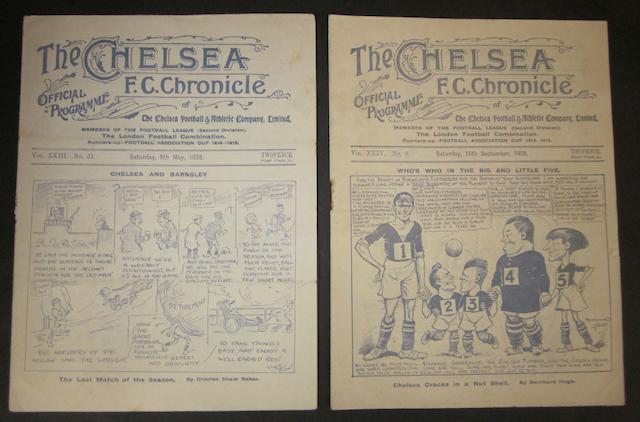 1928 Chelsea v Barnsley programmes