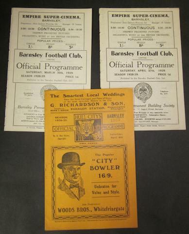 1928/29 Barnsley home and away football programmes