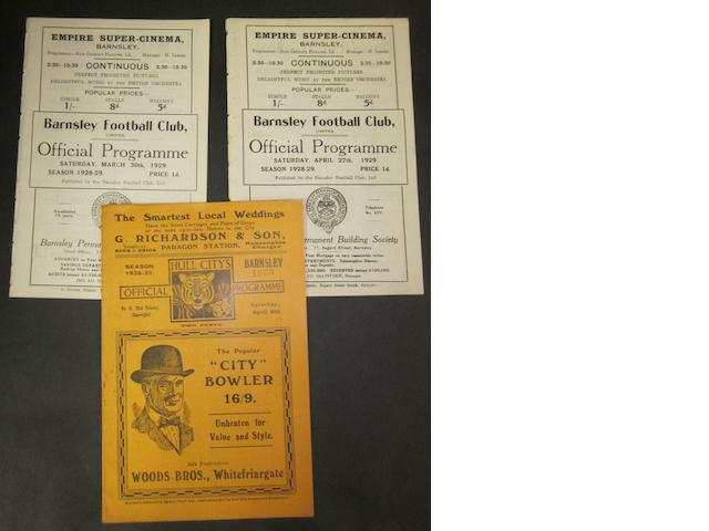 1928/29 Barnsley home and away football programmes