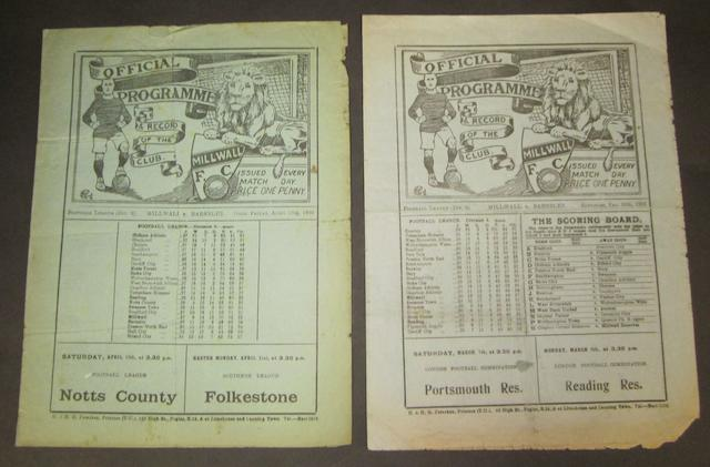 1928/29 and 1929/30 seasons Millwall v Barnsley programmes