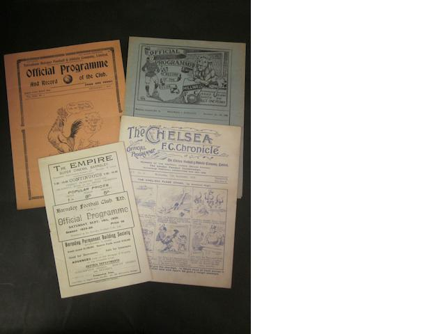 1929/30 Barnsley home and away programmes