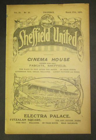 1922 Sheffield United v Barnsley programme