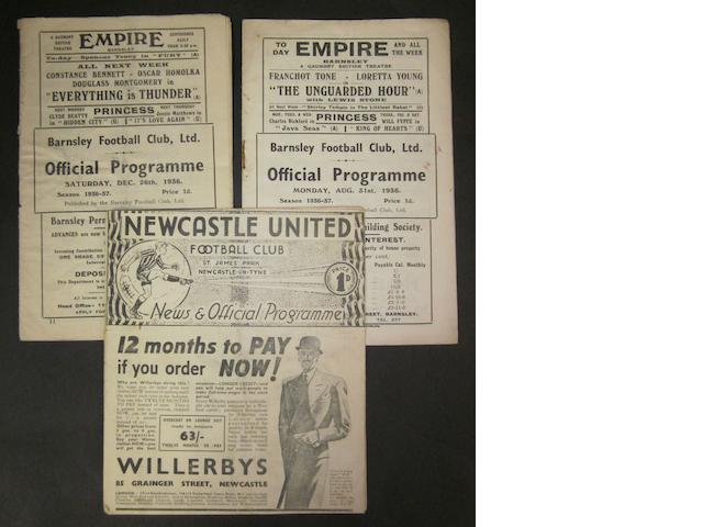 1936/37 Barnsley home and away programmes