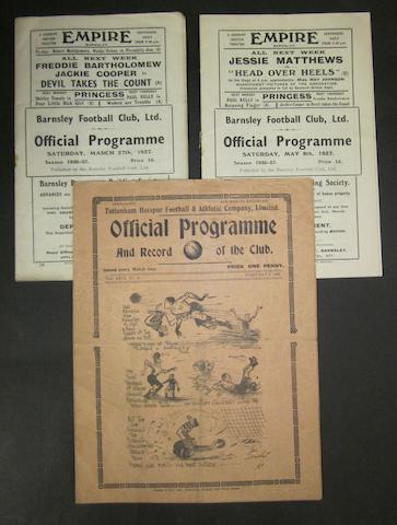 1936/37 Barnsley home and away programmes