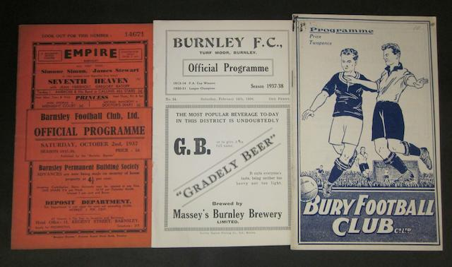 1937/38 Barnsley home and away programmes