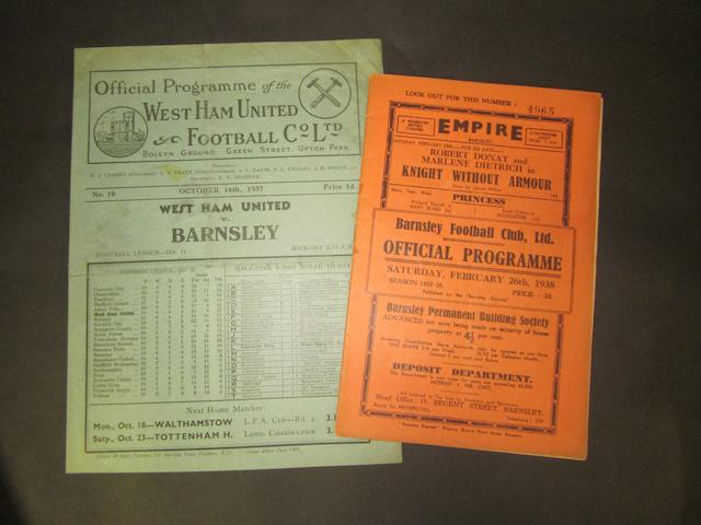 1937/38 Barnsley v West Ham home and away programmes