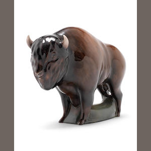 A Doulton figure of a bison, probably a prototype